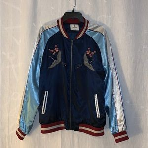 Standard Issue Crane Flower Embroidery Bomber